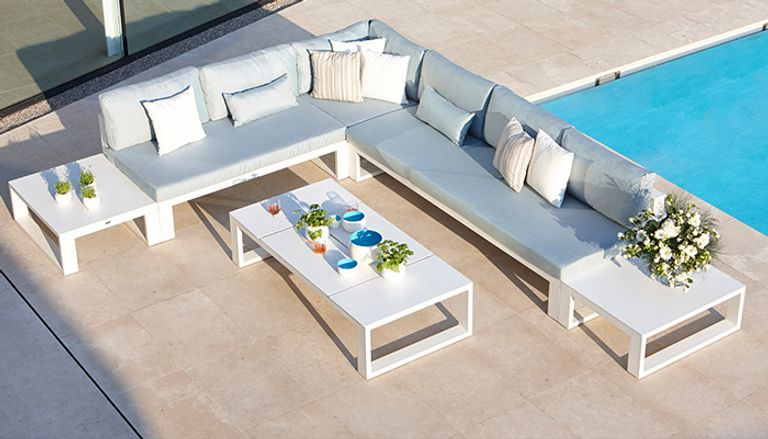 Fermo loungeset wit - aluminium en All Weather Sunbrella Ⓡ Luxe - 6 personen